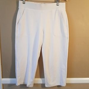 Talbots white terry crop active pants size ps